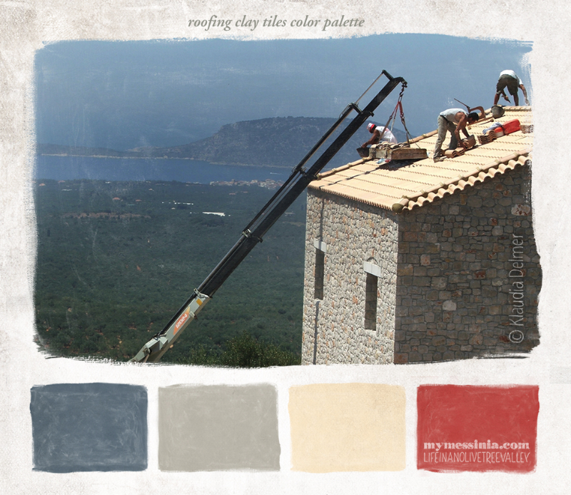 Roofing clay tiles in Gargalianoi, the olive tree valley and Proti island