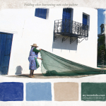 Olive harvesting nets color palette